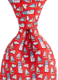 Vineyard Vines Nantucket Lighthouse & Cloud Tie - Red