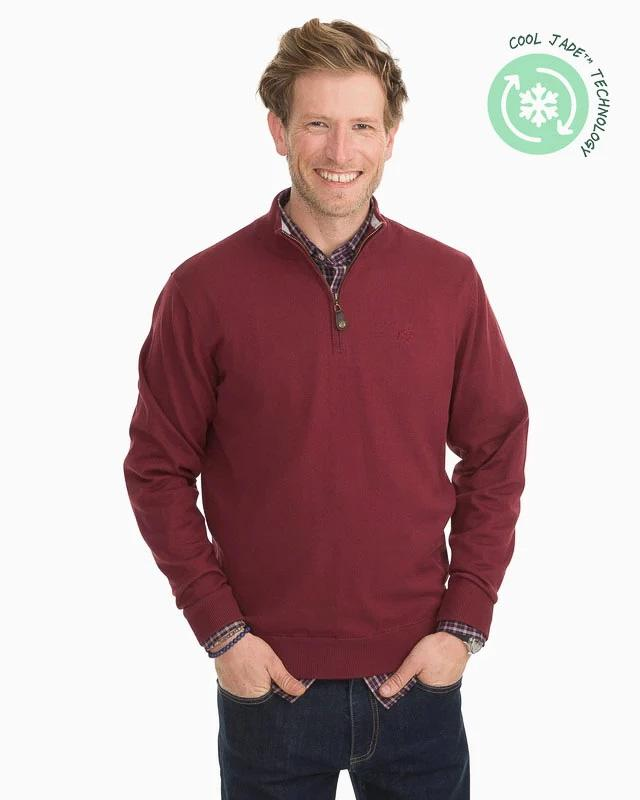 Southern Tide Pacific Quarter Zip Pullover Sweater - Black Cherry