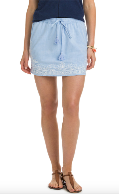 Vineyard Vines Shell Flower Embroidered Skirt - Bayside Blue