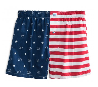 Southern Tide Skipjack Flag Boxer - Red, White, and Blue