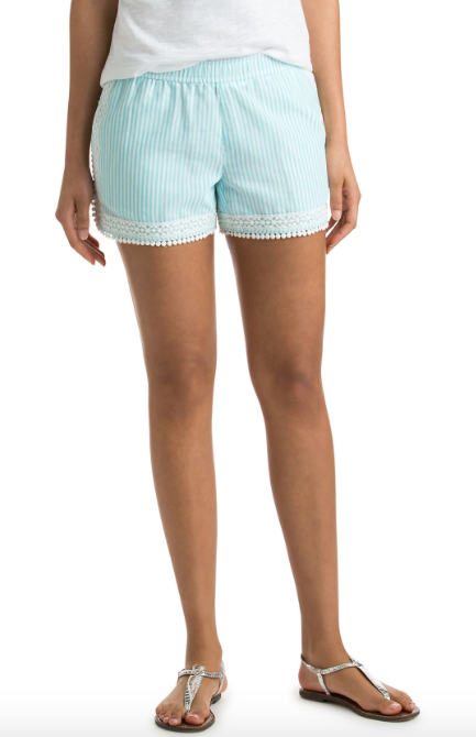 Vineyard Vines Small Stripe Pull On Shorts - Aqua Splash