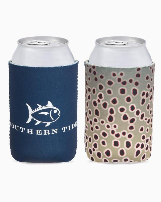 Southern Tide Brown Trout Fish Skin Magnetic Can Caddie - Deep Sea