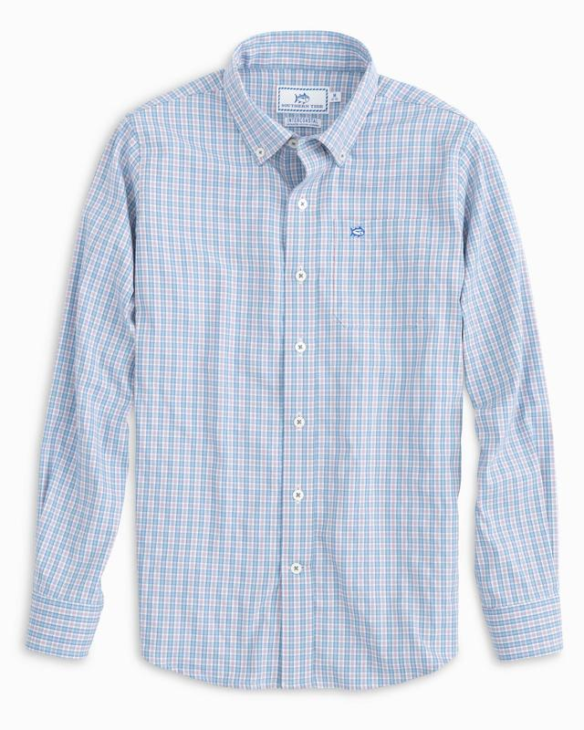 Southern Tide Boys Independence Plaid Intercoastal Shirt - Endless Blue