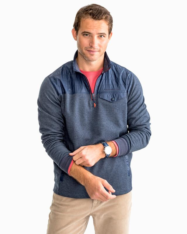 Southern Tide Woodhaven Windproof Fleece Pullover - Navy