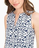Southern Tide Robyn Geo Print Sleeveless Shift Performance Dress - Insignia Blue