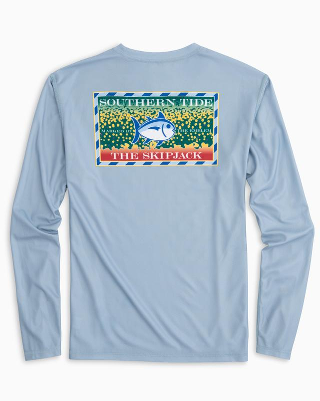 Southern Tide Men's Long Sleeved Southern Slam Series Brook Trout Performance T-shirt - Tsunami Grey