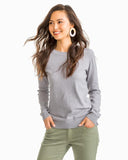 Southern Tide Women's Fireside Crew Sweater - Carob Grey Front
