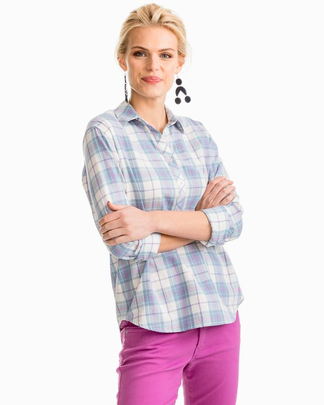 Southern Tide Melrose Plaid Hadley Popover Shirt - Radiant Orchid Front