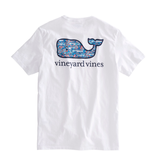 Vineyard Vines Men's Bonefish In Coral Whale Fill Pocket T-Shirt - White Cap