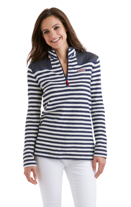 Vineyard Vines Stripe Reverse Terry Relaxed Shep Shirt - Deep Bay