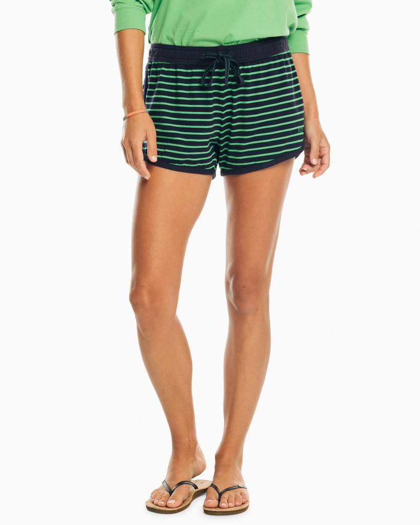 Southern Tide Striped Knit Lounge Short - Foliage Green
