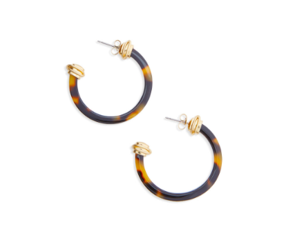 Vineyard Vines Tortoise Hoop Earrings - Brown
