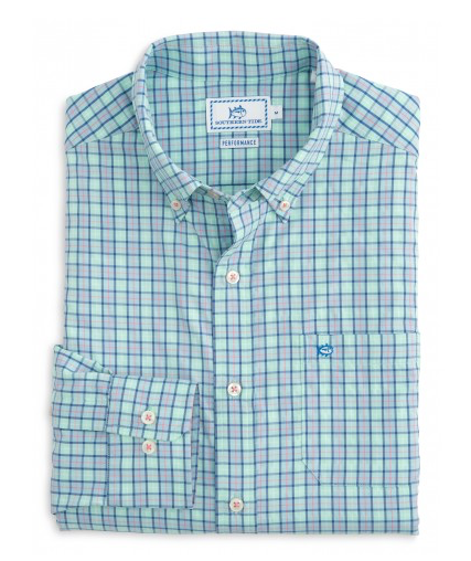 Southern Tide Tortuga Plaid Intercoastal Performance Shirt - Offshore Green