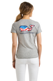Vineyard Vines Heather Slub Waving Flag Whale Fill Pocket Tee - Gray Heather