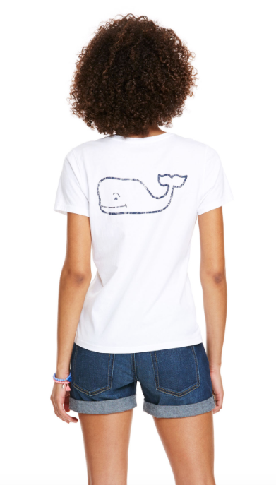 Vineyard Vines Whale Pocket Tee in White Cap on model