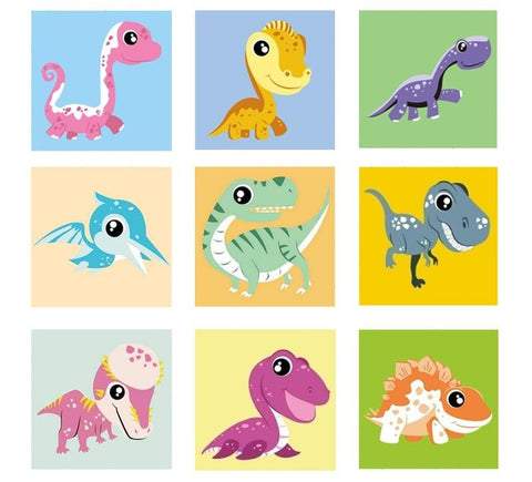 Cartoon Dinosaurs DIY Painting by Numbers Kits for Kids