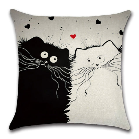 Cat Lovers Quirky Cats Throw Pillow Cover 2 - I Found it On Sale!