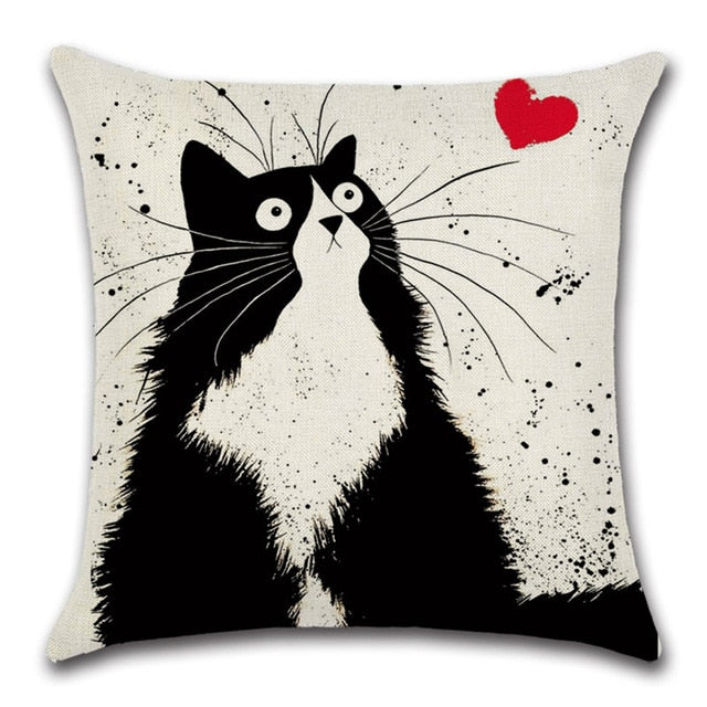 Cat Lovers Quirky Cats Throw Pillow Cover 4 - I Found it On Sale!