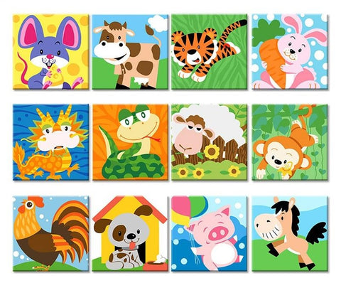 Cartoon Animals DIY Painting by Numbers Kits for Kids - Collection 3