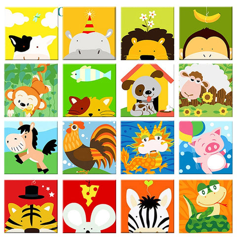 Fun Animals DIY Paint By Numbers Kits for Kids - 20x20cm
