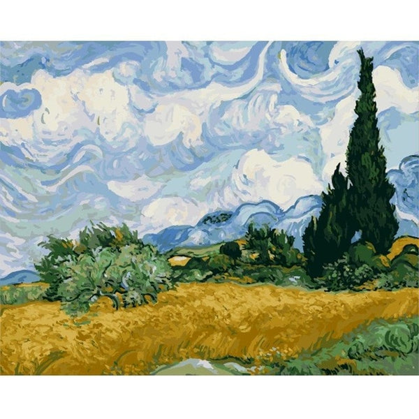 Vincent van Gogh Painting By Numbers - Wheat Field with Cypresses