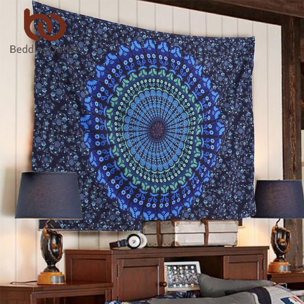 BeddingOutlet Mandala Tapestry Crystal Arrays Blue Beautiful Wall Art Tapestry 130cmx150cm Indian Sheet belgium New Bedding - I Found it On Sale!