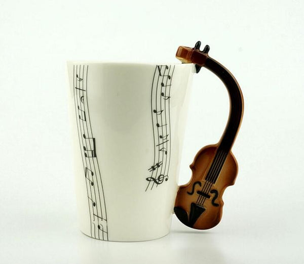 Music Notes Ceramic Coffee Mug - Violin, Guitar, or Piano Styles - I Found it On Sale!