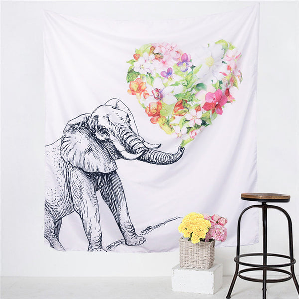 BeddingOutlet Elephant Tapestry Colored Printed Decorative Mandala Tapestry Indian 130cmx150cm 153cmx203cm Boho Wall Carpet - I Found it On Sale!