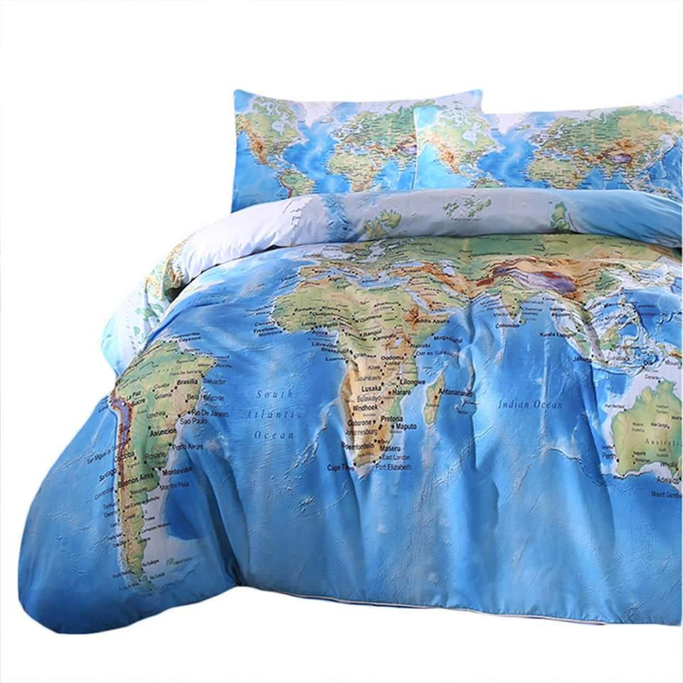 World map duvet cover bedding set 3 pieces twin full queen world map duvet cover bedding set 3 pieces twin full queen king gumiabroncs Images