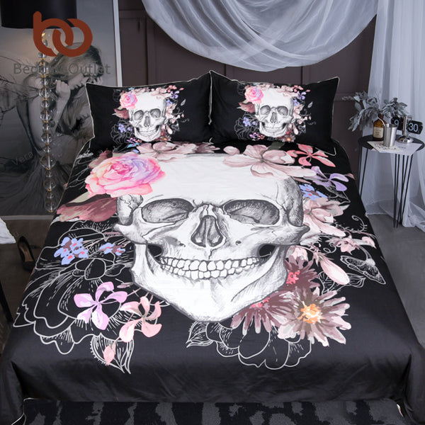 Skulls With Flowers Duvet Cover Bedding Set - 3 Pieces Twin, Full, Queen, King - I Found it On Sale!