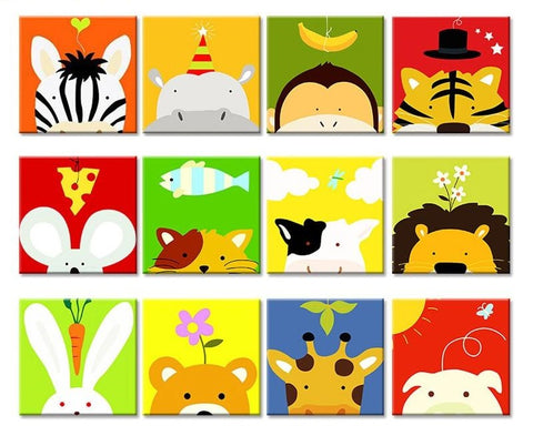 Cartoon Animals DIY Painting by Numbers Kits for Kids - Collection 1