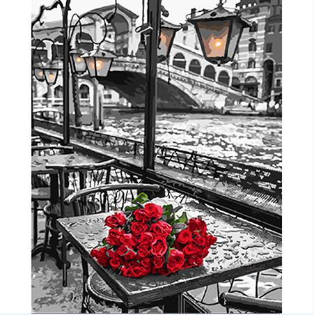 Red Roses On Table  - Paint By Numbers For Adults Kit, 40x50cm Canvas, Frameless - I Found it On Sale!