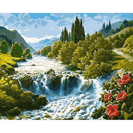 Mountain Waterfall - Paint By Numbers For Adults Kit, 40x50cm Canvas, Frameless - I Found it On Sale!