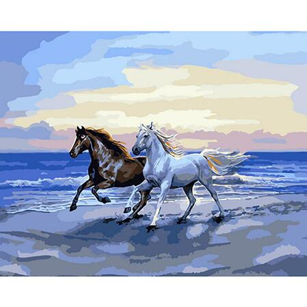 Wild Horses On Beach - Paint By Numbers For Adults Kit, 40x50cm Canvas, Frameless - I Found it On Sale!