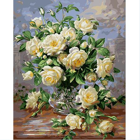 Classic White Flowers in Vase - Paint By Numbers For Adults Kit, 40x50cm Canvas, Frameless - I Found it On Sale!