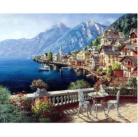 Village Veranda - Paint By Numbers For Adults Kit, 40x50cm Canvas, Frameless - I Found it On Sale!