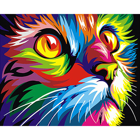 Colorful Abstract Cat - Paint By Numbers For Adults Kit, 40x50cm Canvas, Frameless - I Found it On Sale!