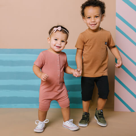 Boy & Girl in Rags Romper & T-Shirt
