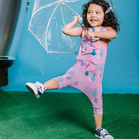 Girls Romper with Cute Umbrella and Rain Drops Print