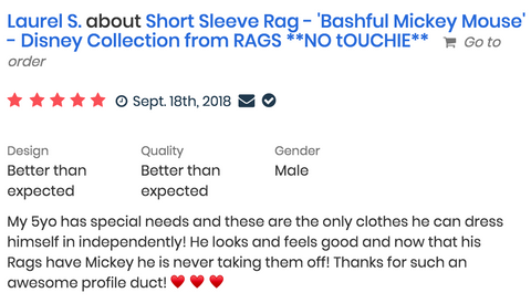 reviews of RAGS rompers shows how sensory friendly RAGS clothing is - Laurel S.
