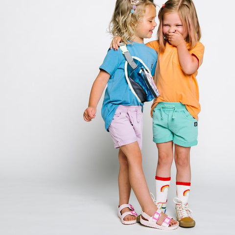 Comfy Green or Purple Unisex Shorts for Babies and Kids