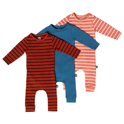 Cute striped gender neutral baby rompers in blue, coral, and red.