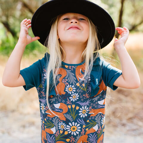 rags jumpsuit with flower pattern and cute hat