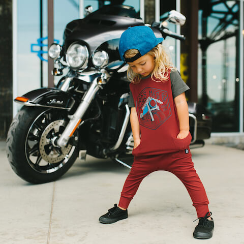 rags jumpsuit with fun motorcycle design