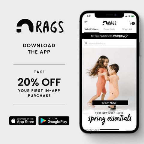 RAGS Mobile App - Shop for rompers, tees, and more for kids, toddlers, and newborns.