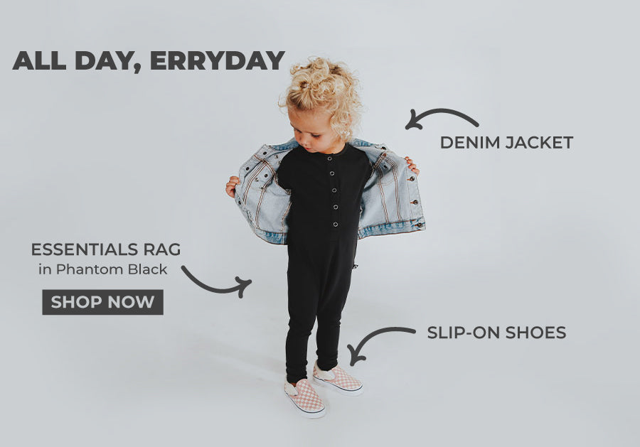 Kids Basics Outfits, Black romper and denim jacket