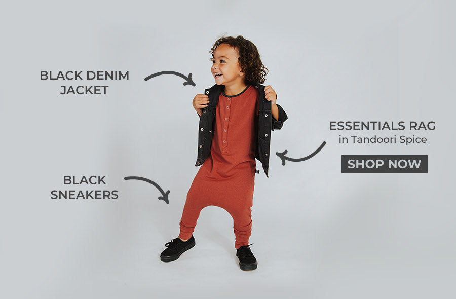 Kids Basic outfits, One piece, denim jacket & sneakers