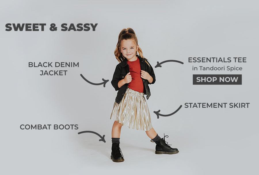 Cute outfits for little girls, kids basics, denim jacket and combat boots