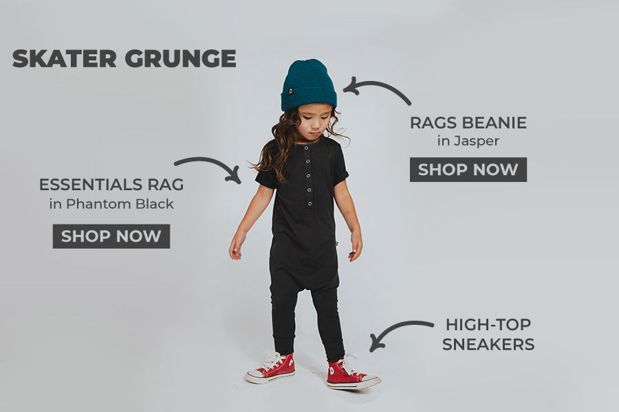Kids basic outfits, one piece and beanie, cool kids style
