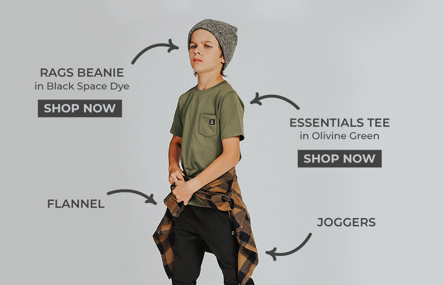 Boys cool style, tee, flannel and beanie, Cool fall outfits for kids